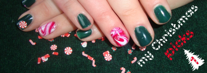 christmas candy cane marble nail art